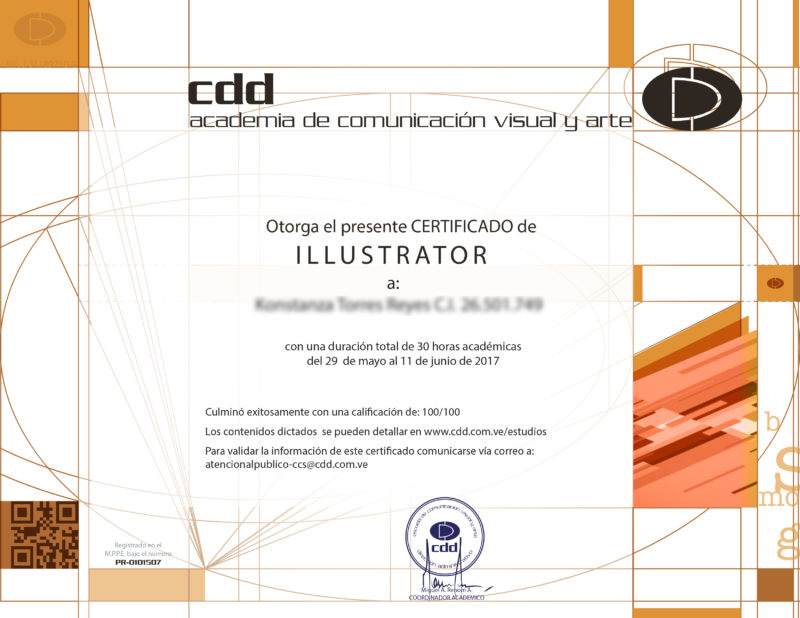 Certificado Curso Corto Online illustrator Instituto Creativo digital